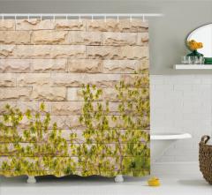 Sarı Çiçek ve Bej Duvar Desenli Duş Perdesi Tarz
