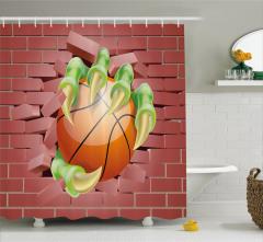 Basketbol Topu ve Pençe Desenli Duş Perdesi Gençlere