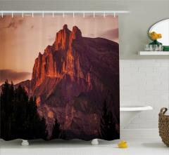 Kayalık Dağ ve Ağaç Temalı Duş Perdesi Dekoratif