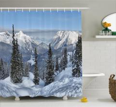 Karlı Dağ ve Ağaç Manzaralı Duş Perdesi Dekoratif
