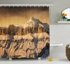 Karlı Kayalık Dağ Temalı Duş Perdesi Şık Tasarım