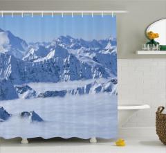 Karlı Dağ ve Sis Manzaralı Duş Perdesi Dekoratif