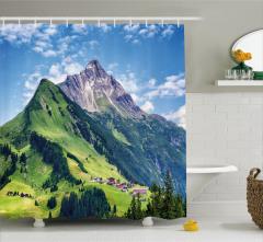 Orman Dağ ve Gökyüzü Temalı Duş Perdesi Şık Yeşil