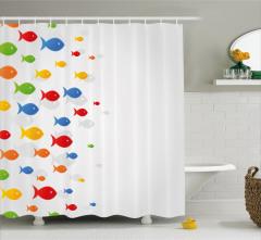 Rengarenk Duş Perdesi Balık Figürleri Şık Tasarım
