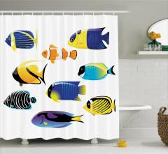 Rengarenk Balıklar Desenli Duş Perdesi Deniz Beyaz