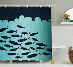 Okyanus Hayatı Temalı Duş Perdesi Balıklar Mavi