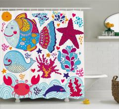 Çocuklar için Duş Perdesi Sevimli Balık Balina Yunus