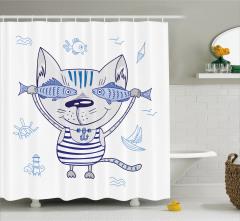 Çocuklar için Duş Perdesi Denizci Kedi ve Balıklar