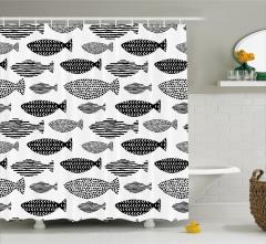 Siyah Beyaz Duş Perdesi Balık Desenleri Modern Sanat