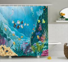 Çocuklar için Duş Perdesi Okyanus Altı Yaşam Temalı
