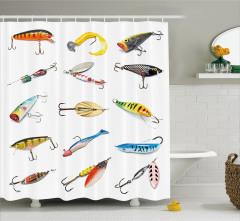 Olta ve Balık Temalı Duş Perdesi Beyaz Şık Tasarım