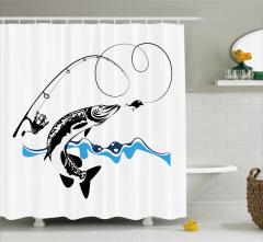Balık ve Olta Temalı Duş Perdesi Siyah Beyaz Mavi