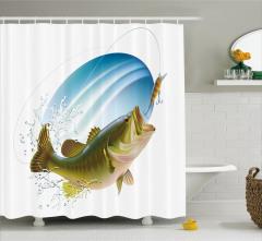 Balık ve Olta Desenli Duş Perdesi Yeşil Mavi Deniz