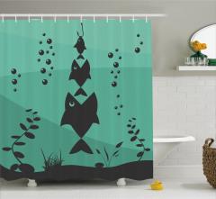 Balık Tutma Temalı Duş Perdesi Deniz Yeşil Siyah