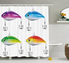 Rengarenk Balık Desenli Duş Perdesi Olta Beyaz Fon