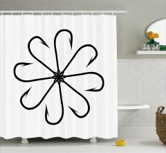 Çiçek Olta Desenli Duş Perdesi Siyah Beyaz Balık Şık