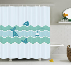Balık ve Şamandıra Desenli Duş Perdesi Mavi Deniz