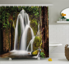Şelale Manzaralı Duş Perdesi Doğada Huzur Temalı