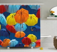 Şemsiye Desenli Duş Perdesi Lacivert Gökyüzü Şık