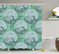 Dalga Desenli Duş Perdesi Yeşil Güneş Şemsiyesi Şık