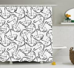 Nostaljik Şemsiye Desenli Duş Perdesi Siyah Beyaz