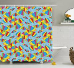 Rengarenk Şemsiye Desenli Duş Perdesi Mavi Trend