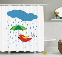 Kuş ve Şemsiye Desenli Duş Perdesi Mavi Yeşil Şık