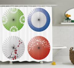Japon Şemsiyesi Desenli Duş Perdesi Rengarenk Şık