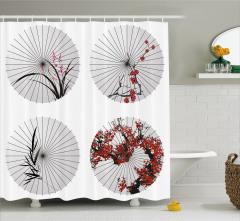 Çiçekli Şemsiye Desenli Duş Perdesi Şık Tasarım