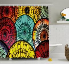 Rengarenk Şemsiye Desenli Duş Perdesi Şık Tasarım