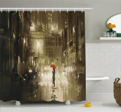 Şemsiyeli Kadın Temalı Duş Perdesi Yağmurlu Gece