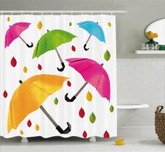 Rengarenk Şemsiye Desenli Duş Perdesi Yaprak Beyaz