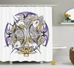 Balık İskeleti Desenli Duş Perdesi Mor Sarı Çiçek