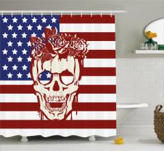 Kuru Kafa ve Gül Desenli Duş Perdesi ABD Bayrağı
