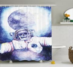 Uzay Temalı Duş Perdesi Lacivert Beyaz Astronot