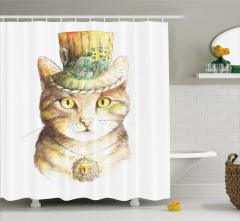 Şapkalı Kedi Desenli Duş Perdesi Sarı Şık Tasarım