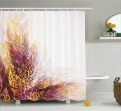 Yaprak Desenli Duş Perdesi Sarı Kahverengi Trend