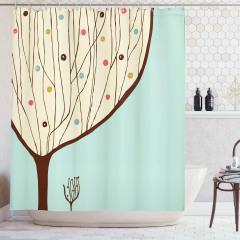 Ağaç Desenli Duş Perdesi Mavi Bej Kahverengi Şık