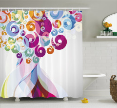 Rengarenk Dalga Desenli Duş Perdesi Şık Tasarım