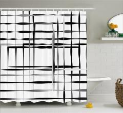 Kafes Temalı Duş Perdesi Siyah Gri Beyaz Kare Şık