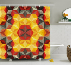 Geometrik Desenli Duş Perdesi Sarı Kırmızı Altıgen