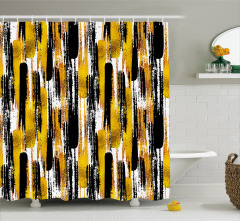 Fırça Darbesi Desenli Duş Perdesi Altın Siyah Şık