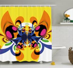 Kelebek Desenli Duş Perdesi Trend Sarı Dekoratif