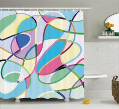 Rengarenk Desenli Duş Perdesi Geometrik Şık Tasarım