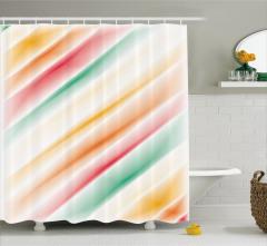 Rengarenk Şerit Desenli Duş Perdesi Kırmızı Şık
