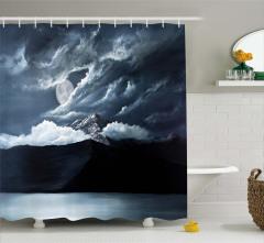 Dalga Formlu Bulut ve Dağ Desenli Duş Perdesi Siyah