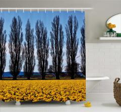 Ağaç ve Çiçek Temalı Duş Perdesi Sarı Mavi Gökyüzü