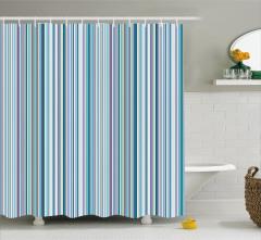 Mavi Gri Çizgili Desenli Duş Perdesi Şık Tasarım