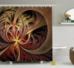 Fraktal Desenli Duş Perdesi Sonbahar Kahverengi