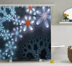 Çiçek Desenli Duş Perdesi Fraktal Mavi Gri Trend